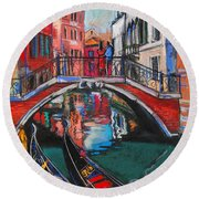 Two Gondolas In Venice Round Beach Towel