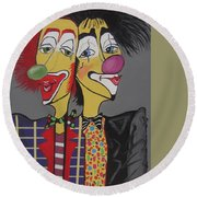 Round Beach Towel featuring the painting Two Heads Are Better Then One by Nora Shepley