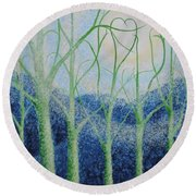 Two Hearts Round Beach Towel by Holly Carmichael