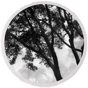 Two Heron - Black And White Round Beach Towel