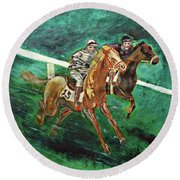 Two Horse Race Round Beach Towel