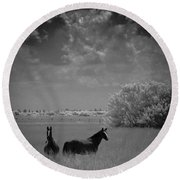 Two Horses Round Beach Towel