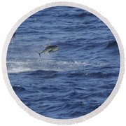 Two Jumping Yellowfin Tuna Round Beach Towel