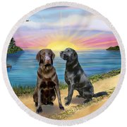 Two Labs At The Lake Round Beach Towel