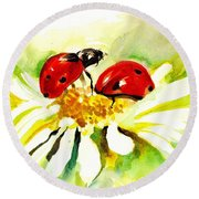 Two Ladybugs In Daisy After My Original Watercolor Round Beach Towel by Tiberiu Soos