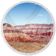 Two Layered Mountains Round Beach Towel