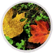 Two Leaves Round Beach Towel