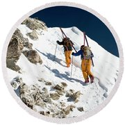 Two Men Backcountry Skiing Hike Round Beach Towel