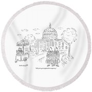 Two Men Speak In Front Of The Capitol And Look Round Beach Towel
