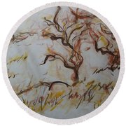 Two Olive Trees Round Beach Towel
