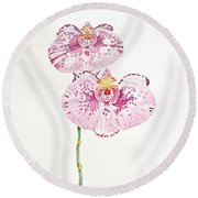 Two Orchids Round Beach Towel by Michele Myers
