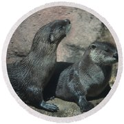 Two Otters Round Beach Towel