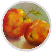 Two Peaches Round Beach Towel