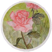 Two Pink Roses Round Beach Towel by Pamela  Meredith
