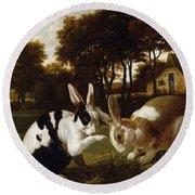 Two Rabbits In A Landscape, C.1650 Round Beach Towel