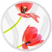 Two Red Transparent Flowers Round Beach Towel