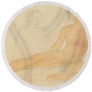Two Seated Nudes Round Beach Towel