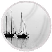 Two Ships In The Fog Round Beach Towel