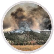 Round Beach Towel featuring the photograph Two Smoke Columns White Draw Fire by Bill Gabbert