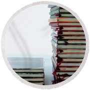 Two Stacks Of Books Round Beach Towel