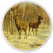 Two Stags In A Clearing In Winter Round Beach Towel
