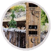 Two-story Outhouse Round Beach Towel