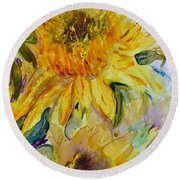 Two Sunflowers Round Beach Towel by Beverley Harper Tinsley