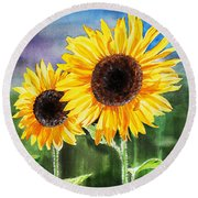 Two Sunflowers Round Beach Towel