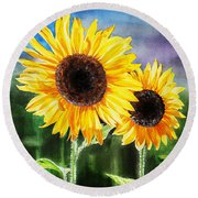 Two Suns Sunflowers Round Beach Towel