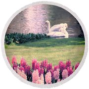 Two Swans Round Beach Towel by Jasna Buncic
