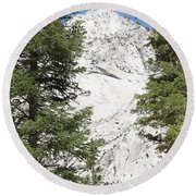 Two Trees And The Peak Round Beach Towel
