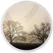 Two Trees In Fog Round Beach Towel