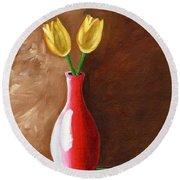 Two Tulips And A Pink Rose Round Beach Towel by Laura Forde