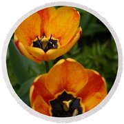 Two Tulips Round Beach Towel by Denyse Duhaime