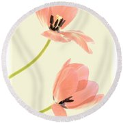 Two Tulips In Pink Transparency Round Beach Towel