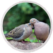 Two Turtle Doves Round Beach Towel