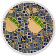 Two Turtledoves Round Beach Towel