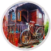 Two Wheels On My Wagon Round Beach Towel