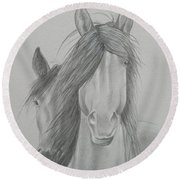 Two Wild Horses Round Beach Towel