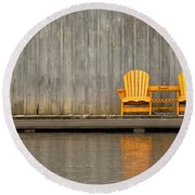 Two Wooden Chairs On An Old Dock Round Beach Towel