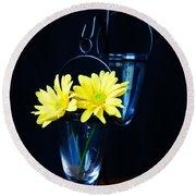 Two Yellow Daisies Round Beach Towel by Kerri Mortenson