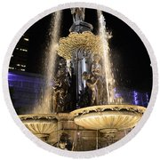 Fx9u-1250 Tyler Davidson Fountain Photo Round Beach Towel