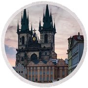 Tyn Cathedral On Old Town Square Round Beach Towel