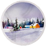 Round Beach Towel featuring the painting Tyonek Village Impression by Teresa Ascone