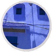 Round Beach Towel featuring the photograph Typical Blue Facade In The Medina Of Asilah On Northwest Tip Of Atlantic Coast Of Morocco by Ralph A  Ledergerber-Photography