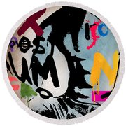 Typography Male  Round Beach Towel