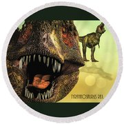 Tyrannosaurus Rex 4 Round Beach Towel by Bob Orsillo