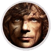 Round Beach Towel featuring the painting Tyrion Lannister - Peter Dinklage Game Of Thrones Artwork 2 by Sheraz A