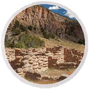 Tyuonyi Bandelier National Monument Round Beach Towel