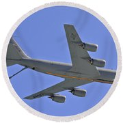 Round Beach Towel featuring the photograph U S Air Force Flyover by DigiArt Diaries by Vicky B Fuller